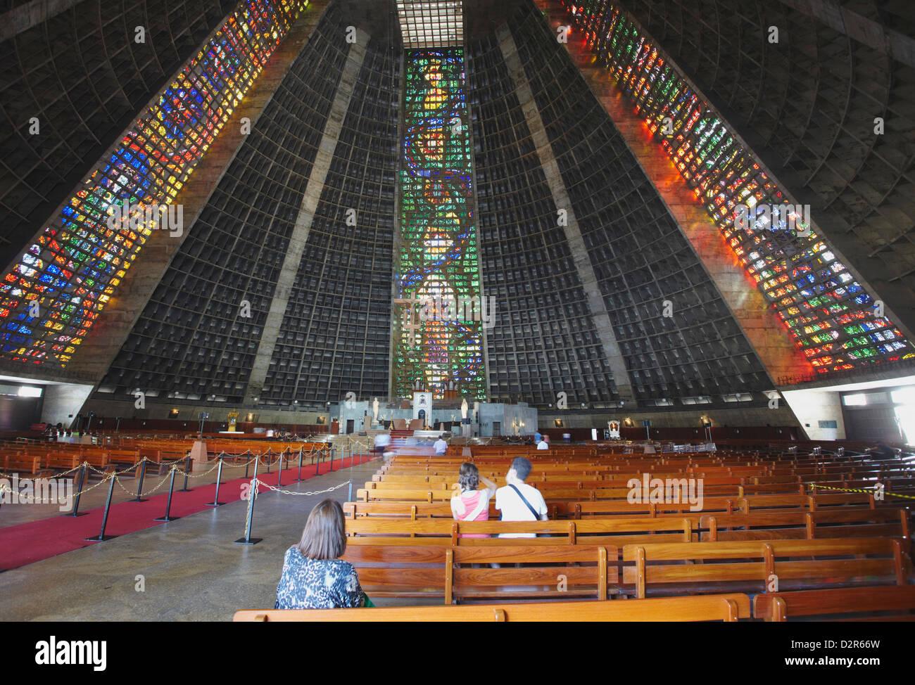 Intérieur de la cathédrale métropolitaine de Saint Sébastien, Centro, Rio de Janeiro, Brésil, Photo Stock