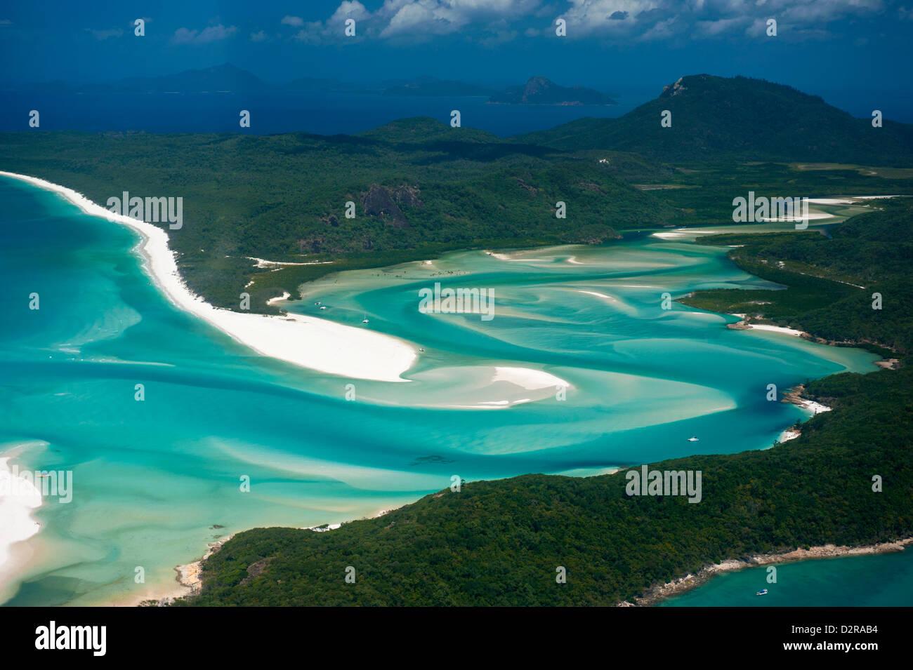 Vue aérienne de Whitehaven dans la Pentecôte, Queensland, Australie, Pacifique Photo Stock