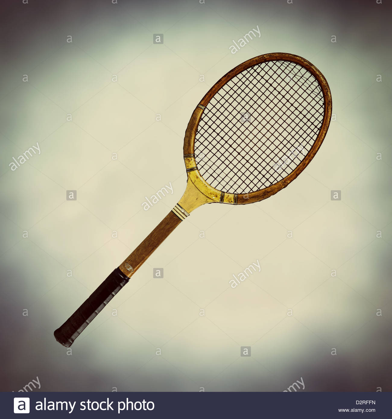 Raquette de tennis en bois à l'ancienne Photo Stock