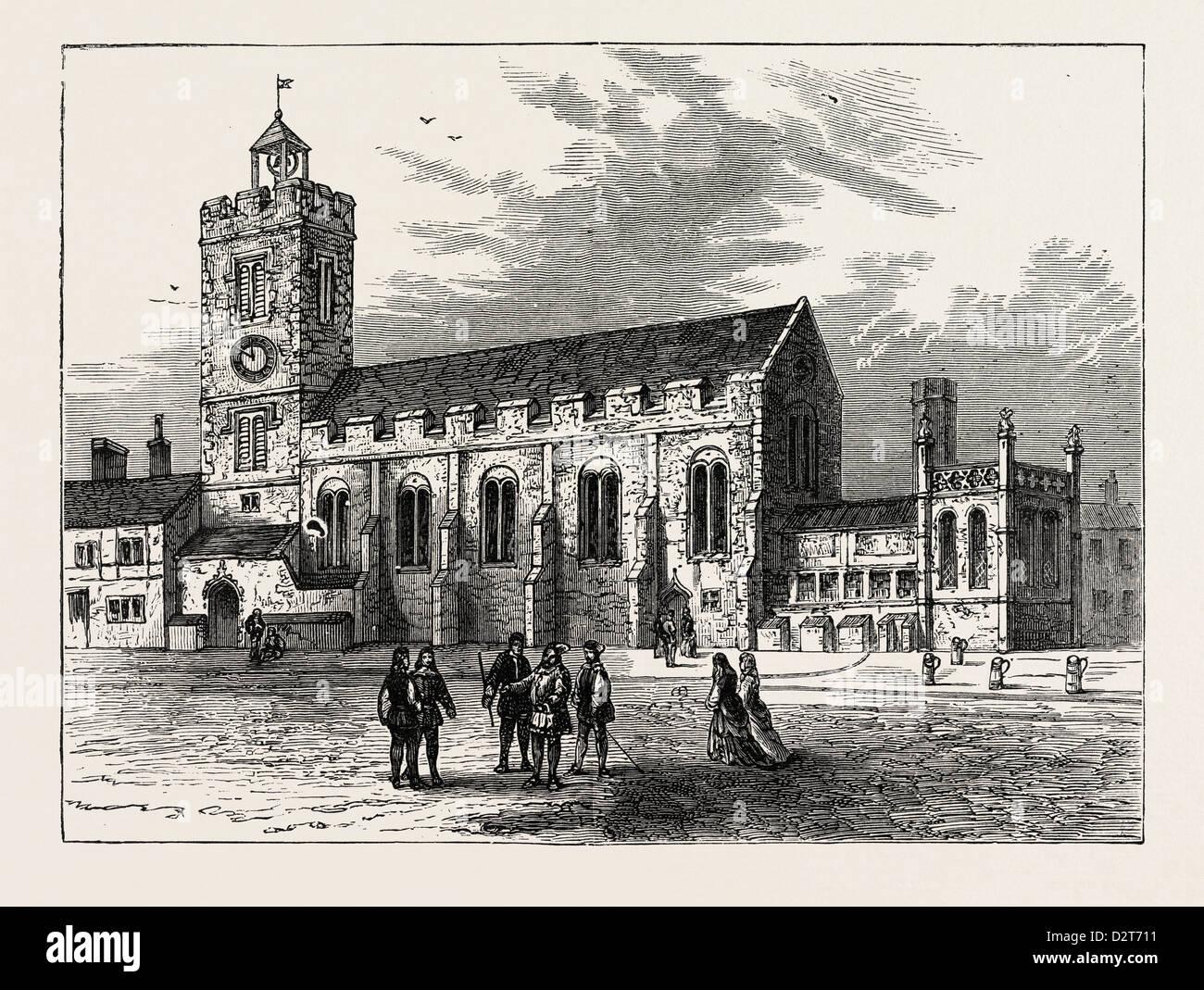 L'ÉGLISE DE ST. MICHAEL ANNONCE BLADUM A.D. 1585 LONDRES Photo Stock