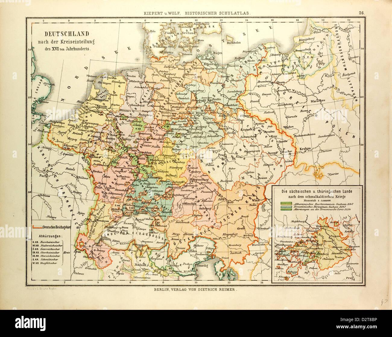 Carte de l'ALLEMAGNE AU 16ème siècle Photo Stock