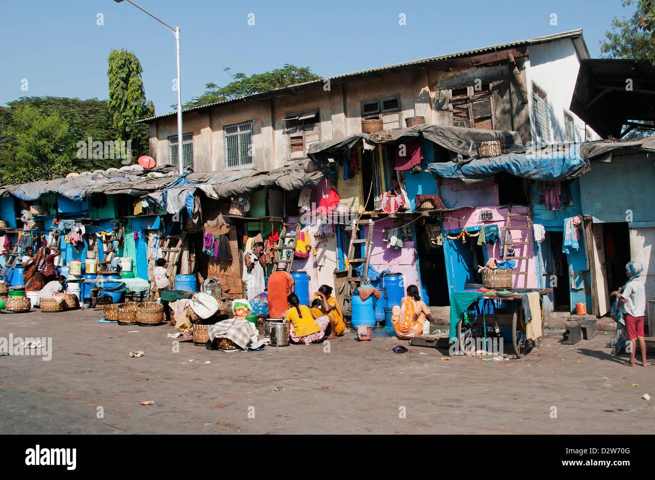 La pauvreté des personnes pauvres des bidonvilles de Mumbai ( Bombay ) l'Inde Photo Stock