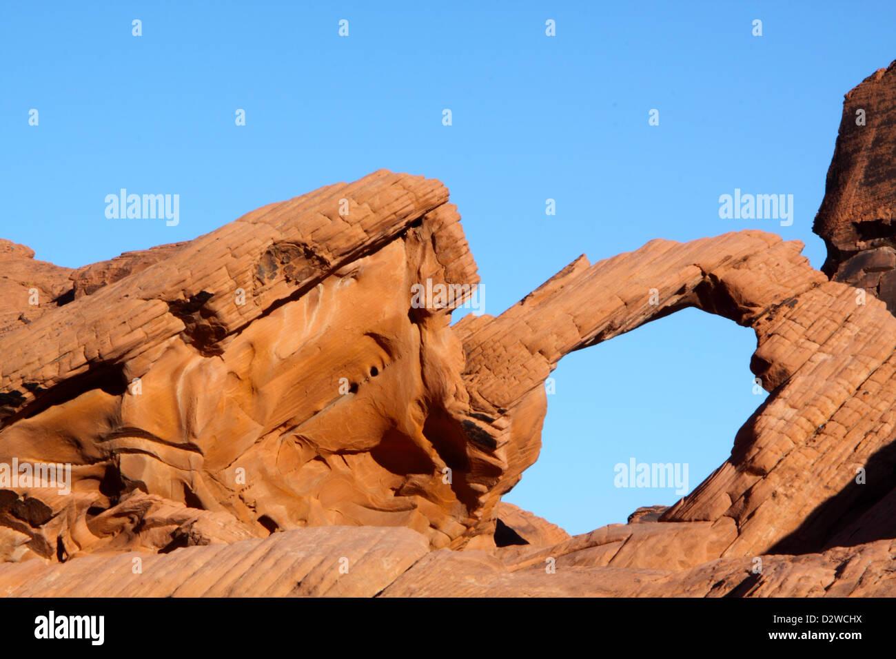 Arch Rock, Vallée de Feu Park, Nevada Banque D'Images