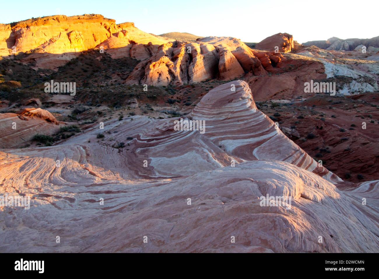 Coucher de soleil sur la vague d'incendie, la Vallée de Feu State Park, Nevada Banque D'Images