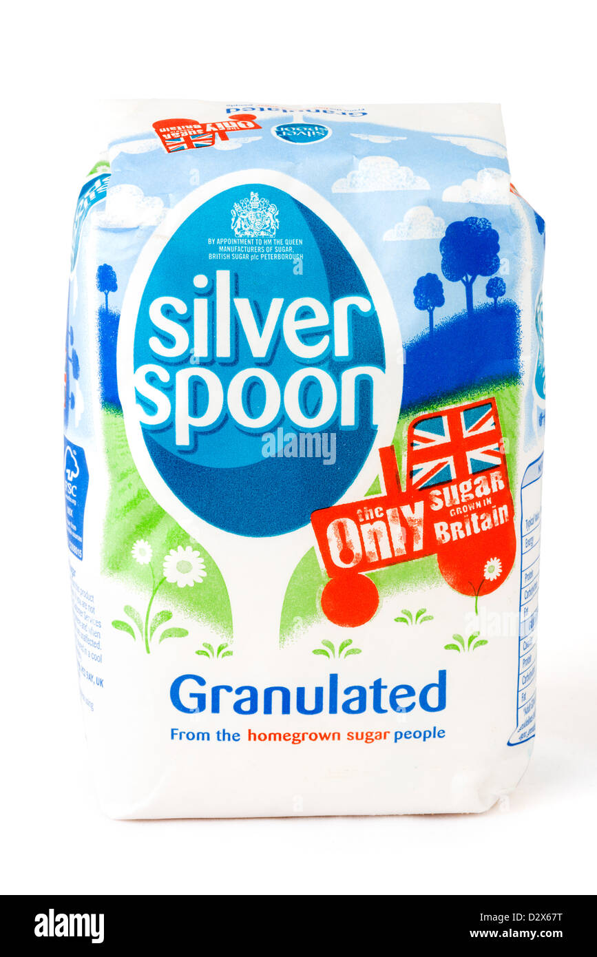 Sachet de sucre granulé Silver Spoon, UK Photo Stock