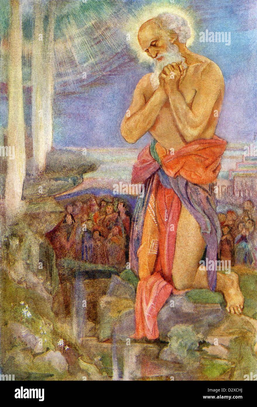Le prophète juif Élie prévaut sur les prêtres de la dieu Phénicien Baal. Banque D'Images