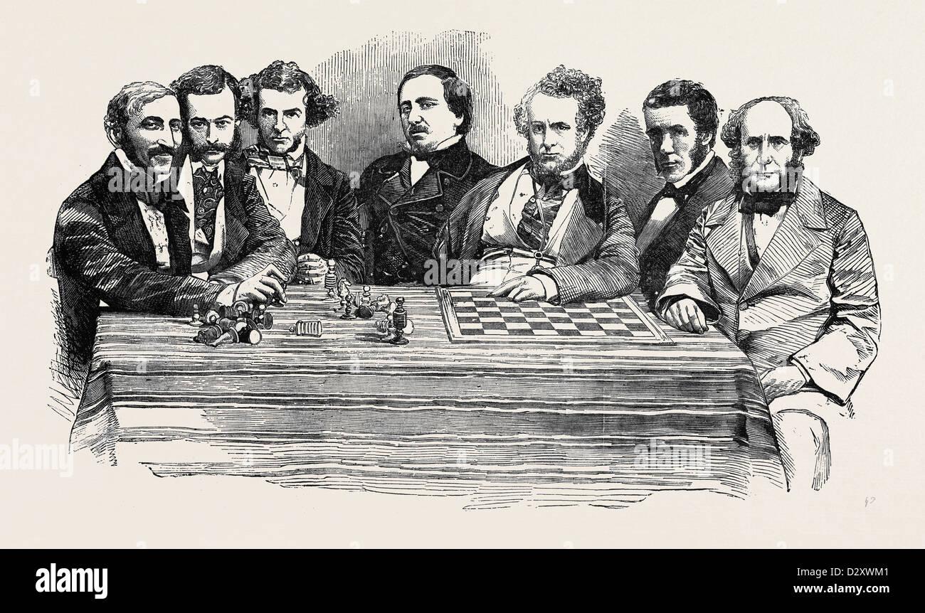Des célébrités À LA FIN DE LA RÉUNION D'ÉCHECS, LE 14 JUILLET 1855 Photo Stock