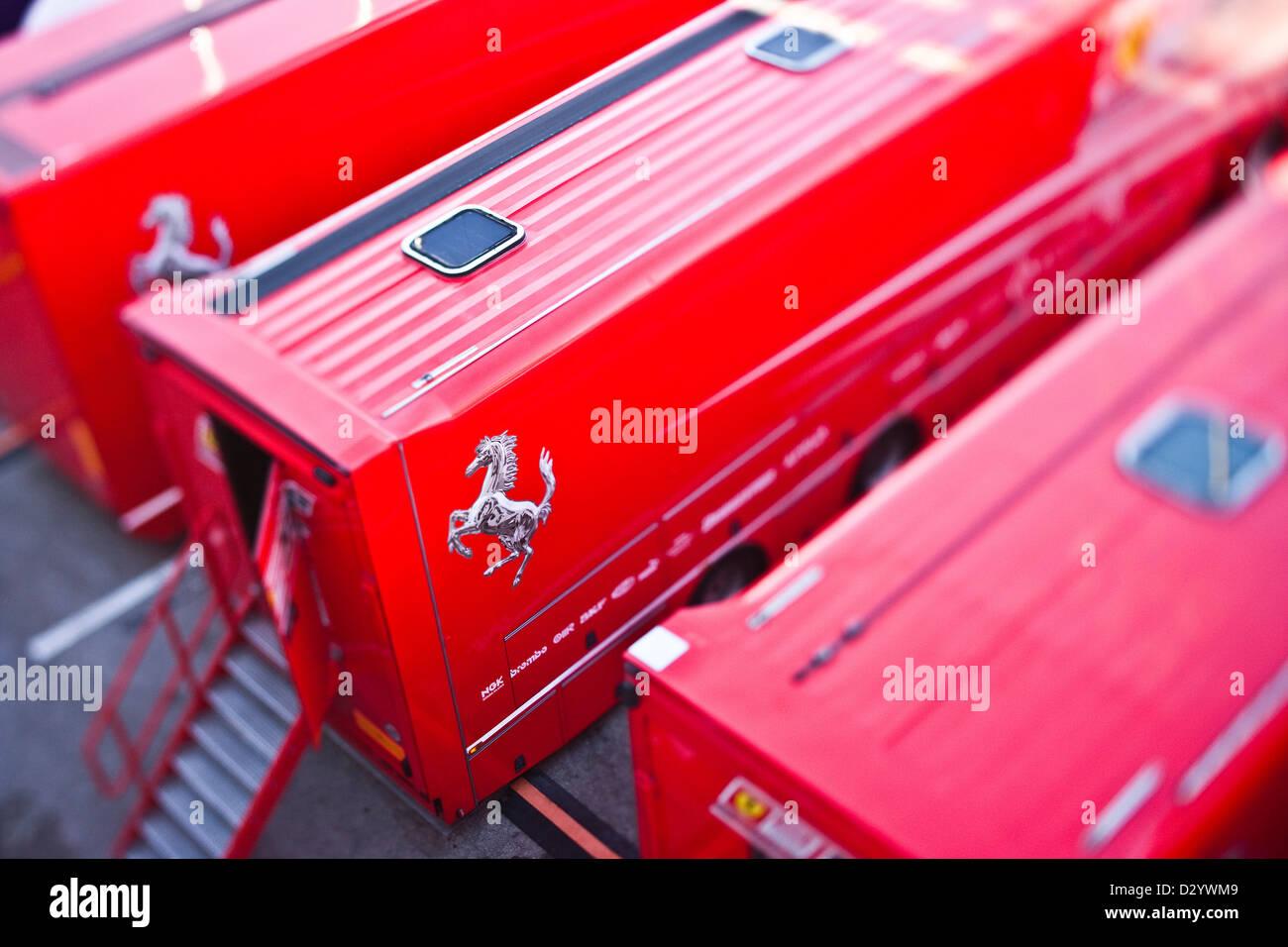 La formule un véhicules de soutien, Barcelone, 27 02 10 Photo Stock
