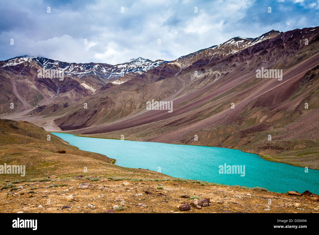 Spiti Valley lac Chandra Taal, Himachal Pradesh, Inde Photo Stock