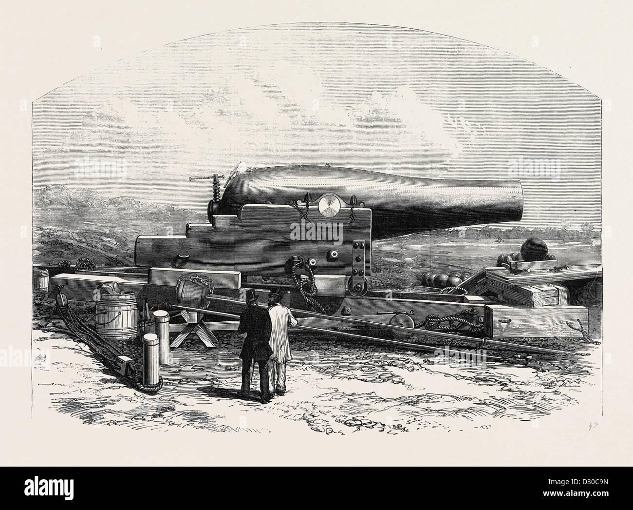 Le canon RODMAN DE 15 POUCES CALIBRE ADOPTÉ POUR LA MARINE DES États-unis 1867 Photo Stock
