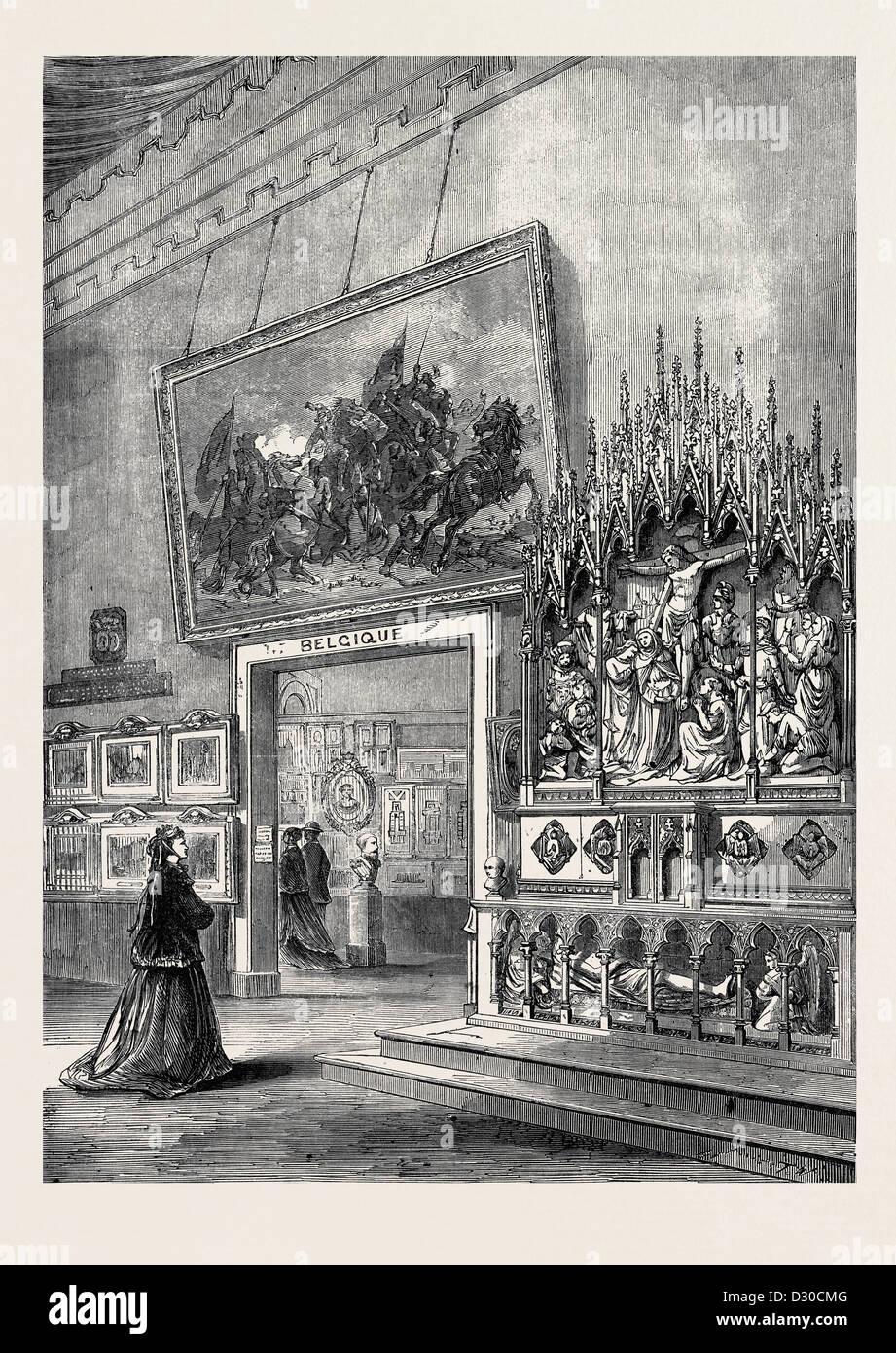L'EXPOSITION INTERNATIONALE DE PARIS: SALON DES BEAUX ARTS DANS LA SECTION BELGE FRANCE 1867 Photo Stock