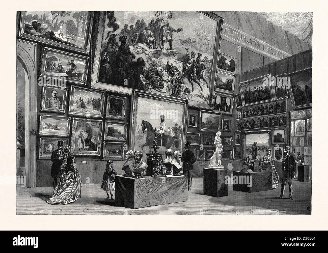 Salon DES BEAUX ARTS DANS LA SECTION AUTRICHIENNE DE L'EXPOSITION INTERNATIONALE DE PARIS FRANCE 1867 Photo Stock