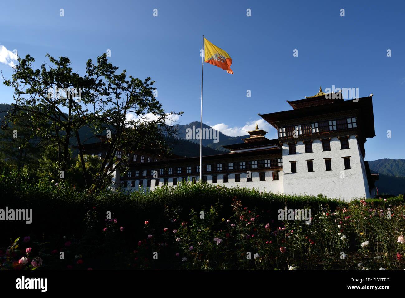 Trashi Chhoe Dzong forteresse,Gouvernement,édifice qui abrite le salon du trône, 36 MPX Photo Stock