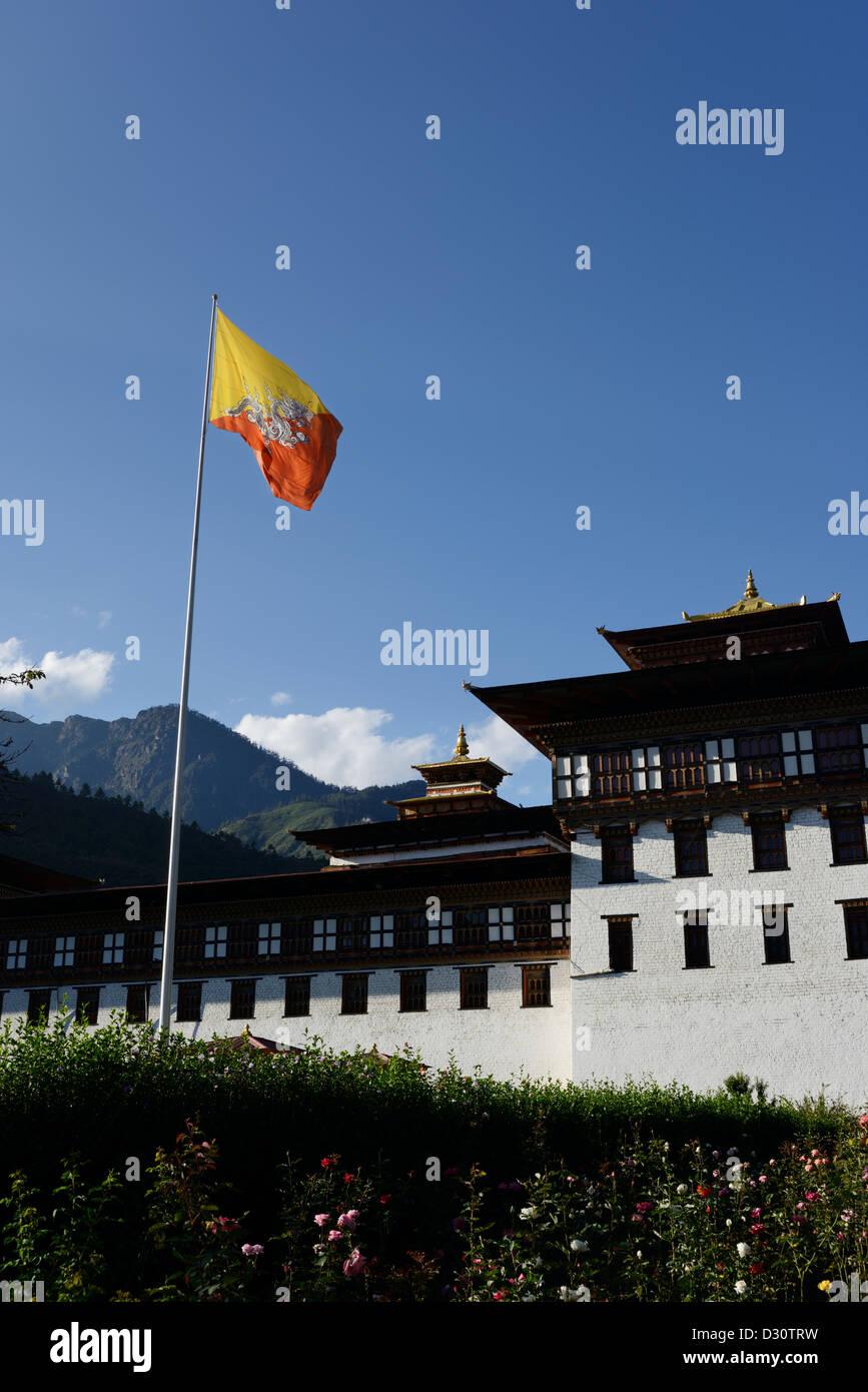 Trashi Chhoe Dzong Trashi ou chodzong,forteresse. Aujourd'hui partie du gouvernement central qui abrite la salle Photo Stock