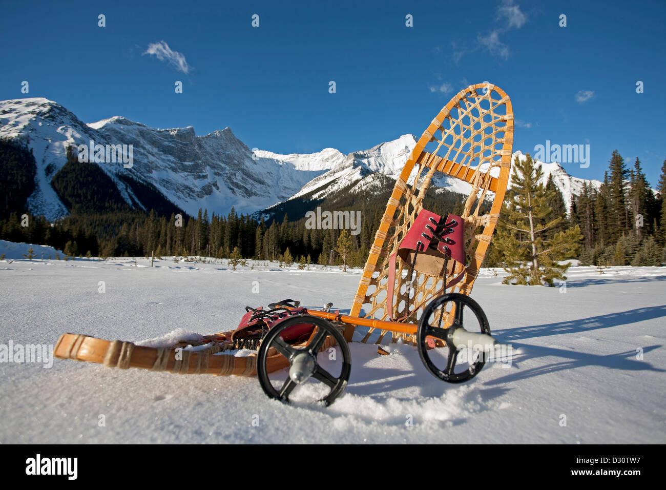 Pignon d'vintage dans la neige avec des montagnes en arrière-plan Photo Stock