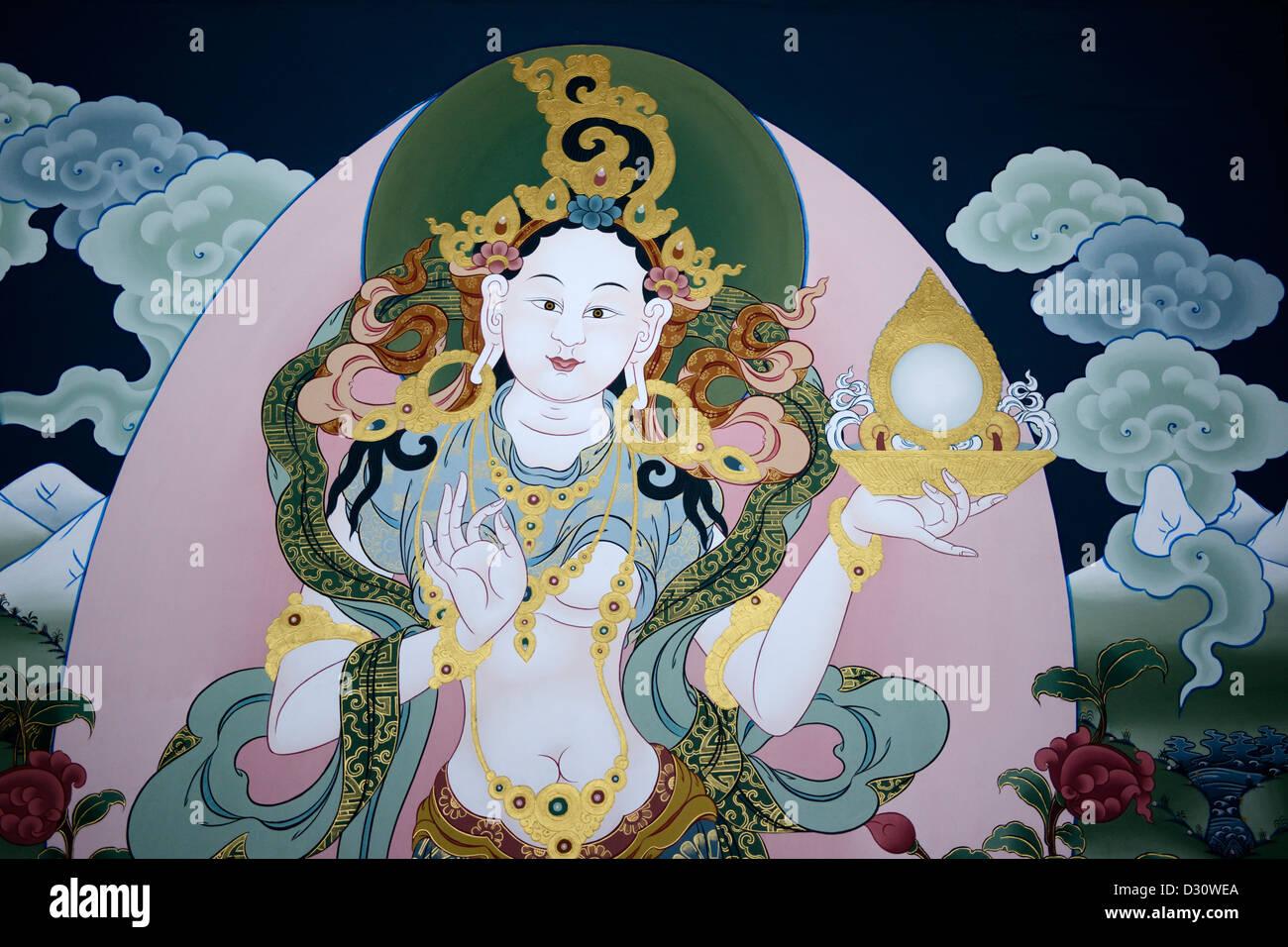Peintures dans la cour à tashi chodzong dzong, forteresse de la glorieuse religion,Bhoutan,36MPX Photo Stock