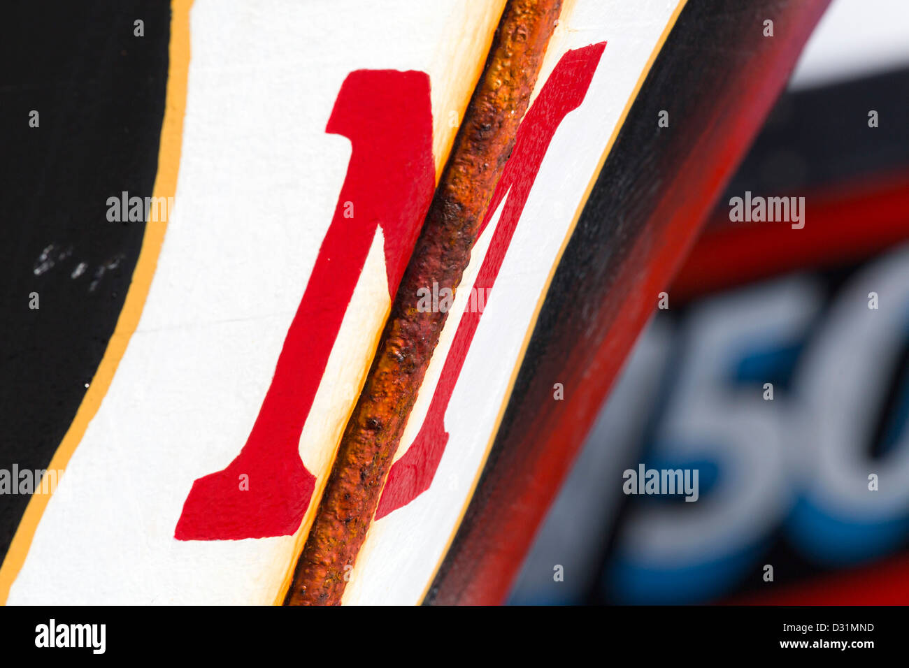 La rouille et M; rouge; Symétrie Détail Bateau de pêche; Photo Stock