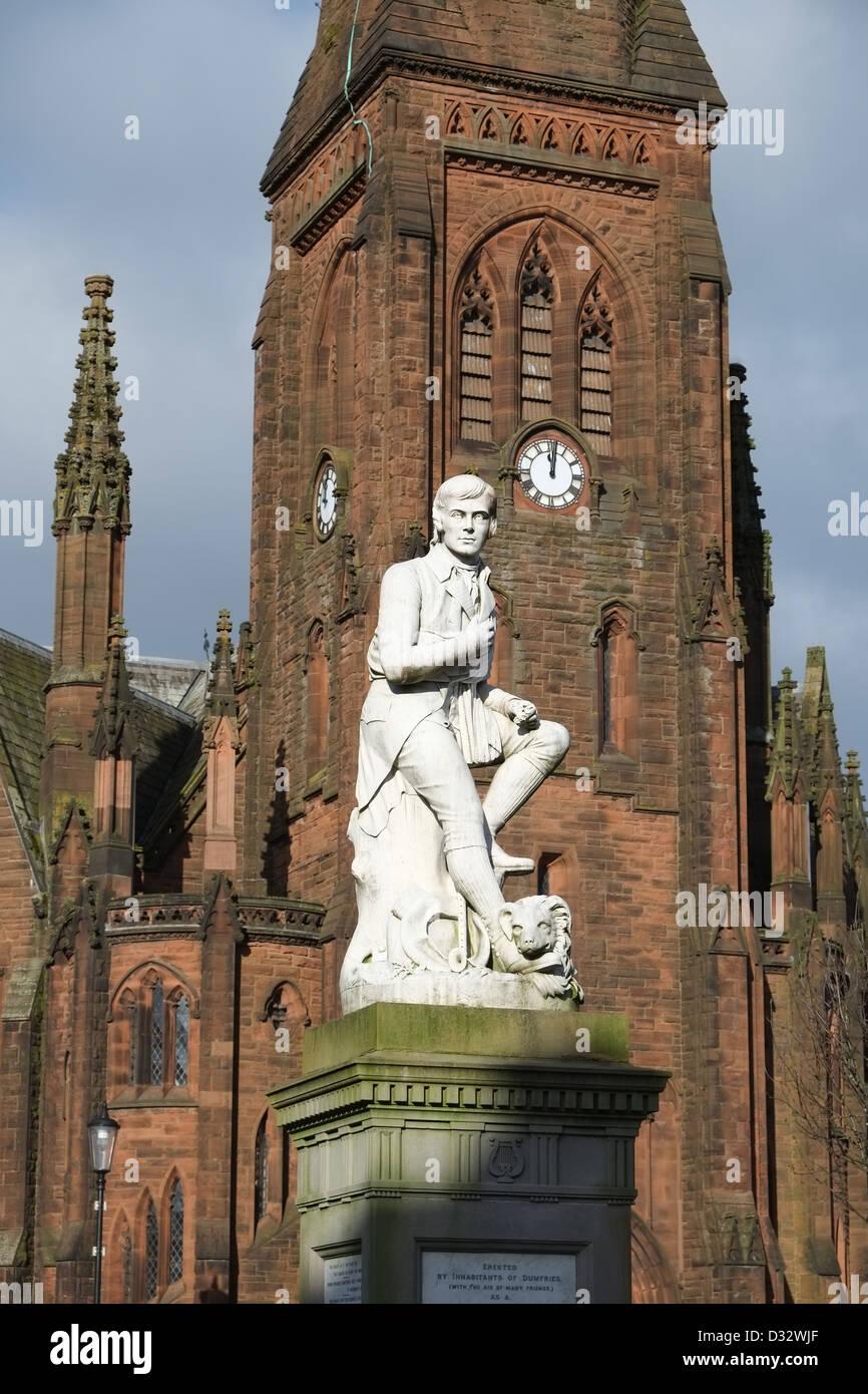 Statue de Robert Burns, Dumfries, Ecosse, Grande-Bretagne SW Banque D'Images