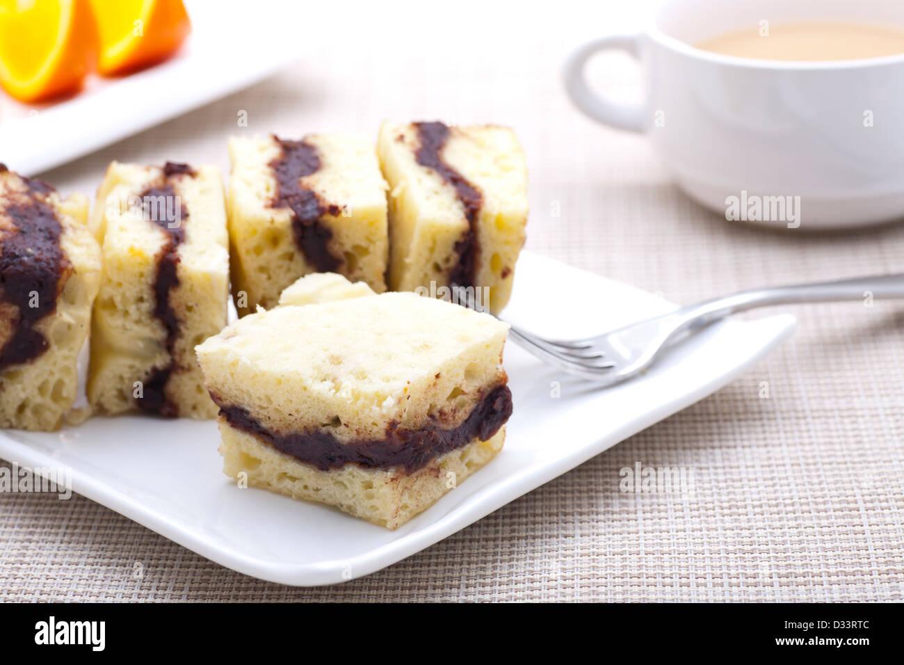 Petit déjeuner - close-up de gâteau fait maison Banque D'Images