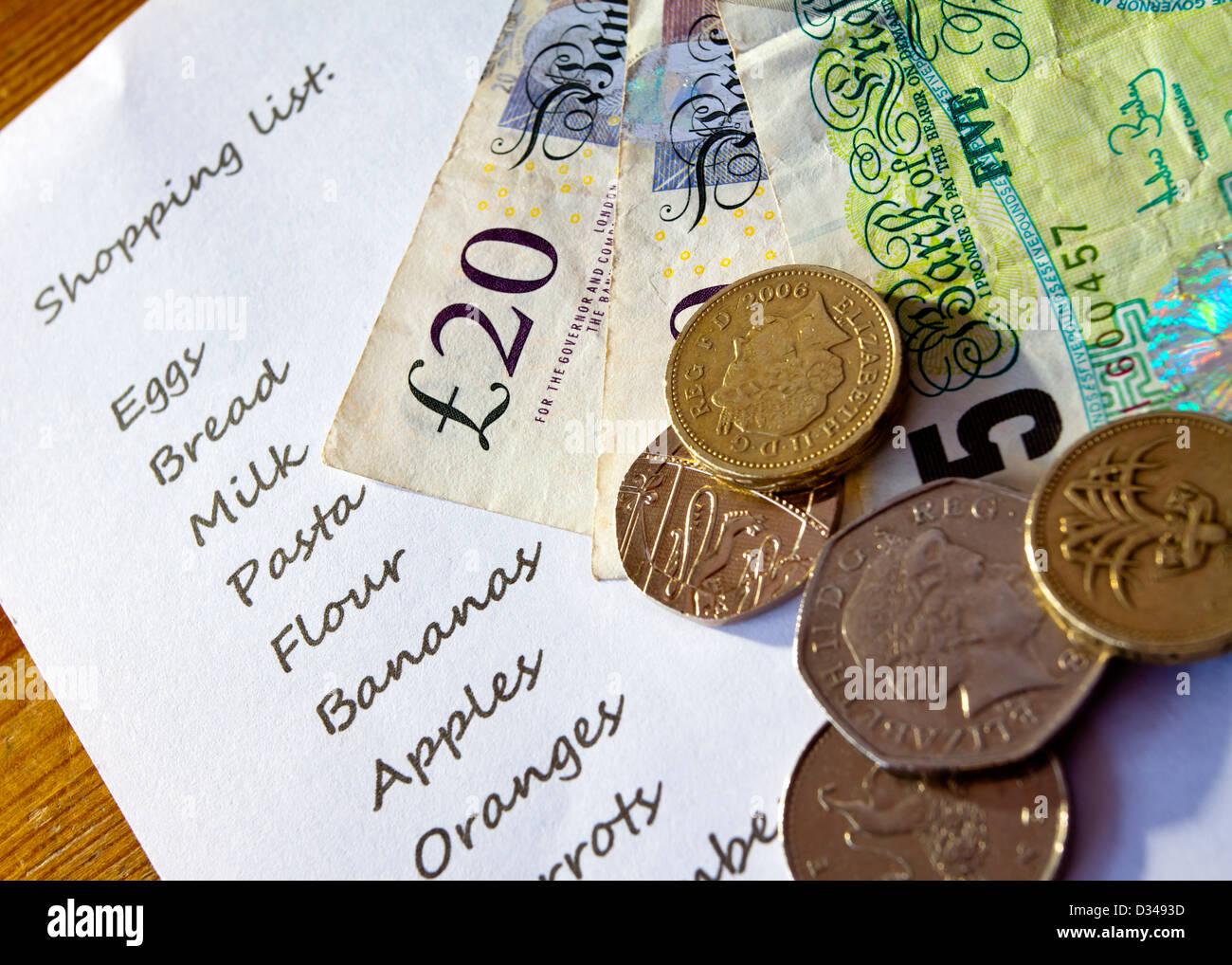 Close up of shopping Liste de pièces et billets en euros au Royaume-Uni sur le dessus Banque D'Images
