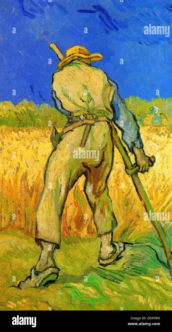 Vincent van Gogh, le Moissonneur après le mil. 1889. Le postimpressionnisme. Huile sur toile. Memorial Art Photo Stock