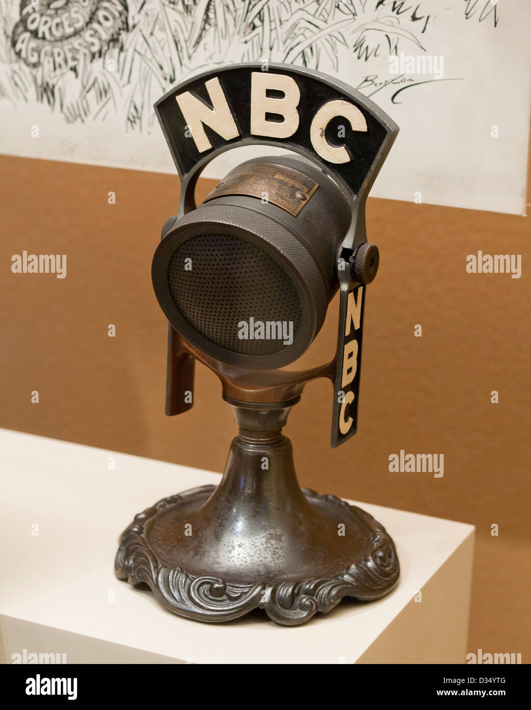 Vintage microphone NBC - circa 1933 Photo Stock