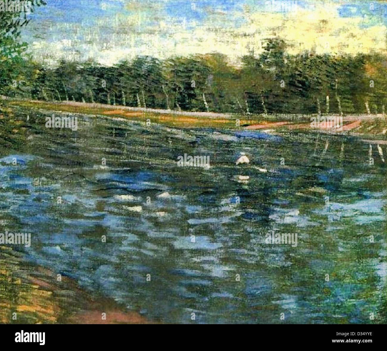 Vincent van Gogh, la Seine avec un bateau à rames . 1887. Le postimpressionnisme. Huile sur toile. Lieu de Photo Stock