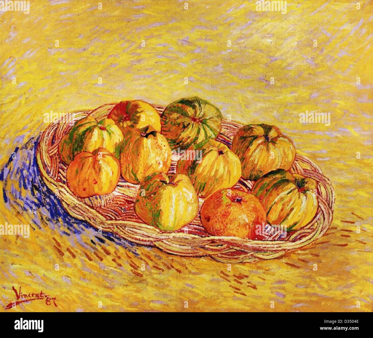 Vincent van Gogh, Nature morte avec panier de pommes. 1887. Le postimpressionnisme. Huile sur toile. Photo Stock