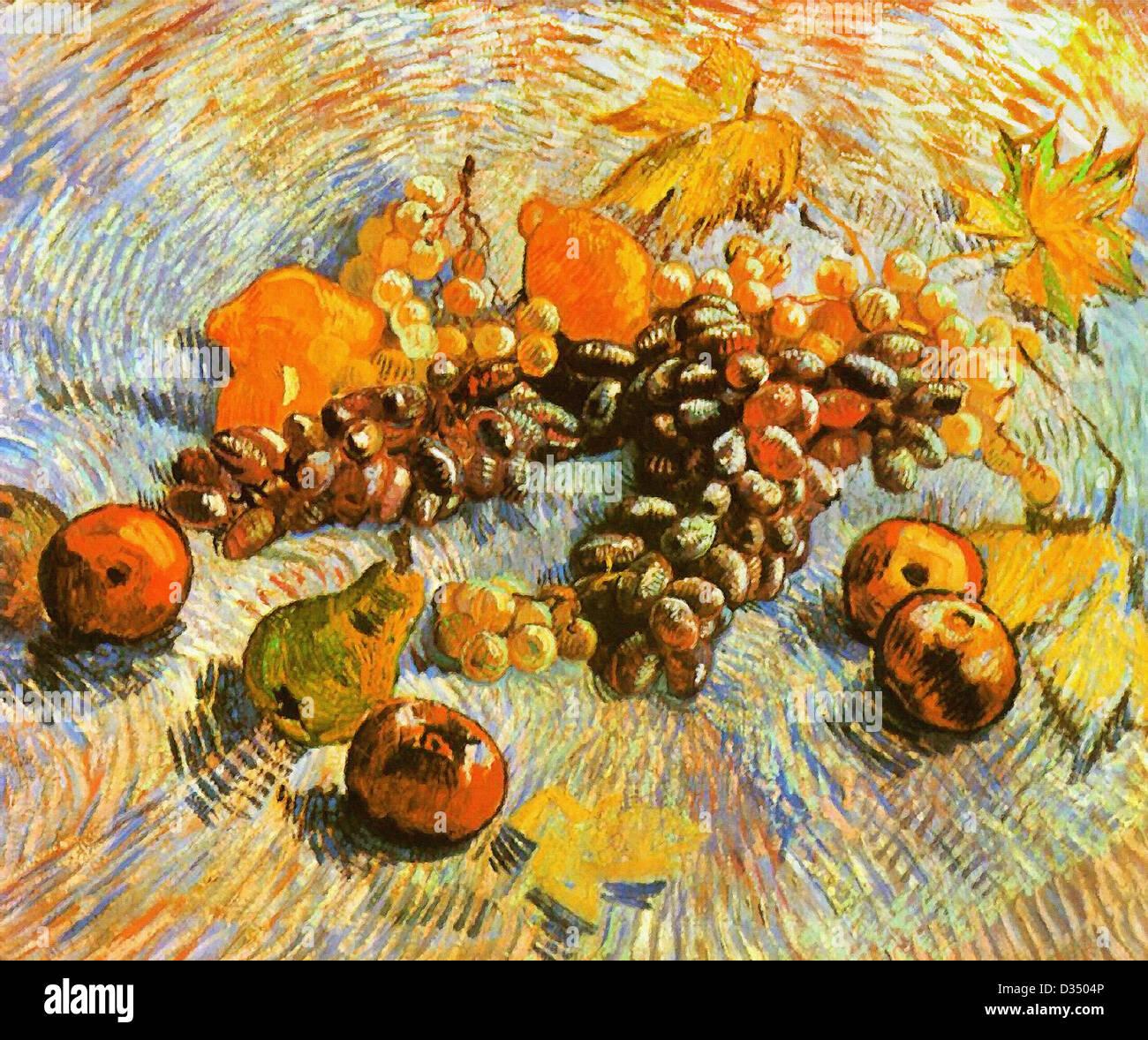 Vincent van Gogh, Nature morte avec pommes, poires, citrons et les raisins. 1887. Le postimpressionnisme. Huile Photo Stock