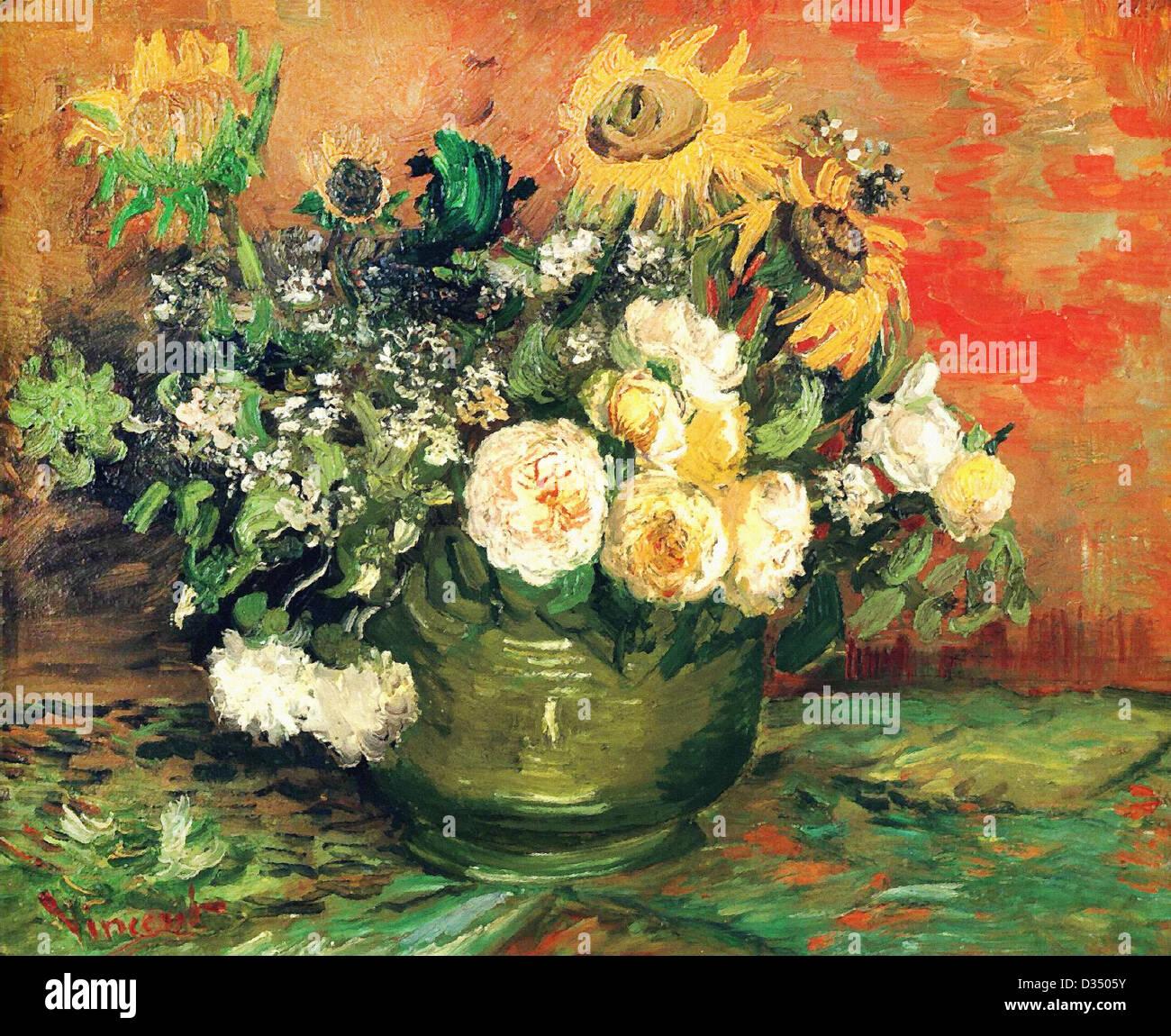 Vincent van Gogh, Nature morte avec Roses et tournesols. 1886. Le postimpressionnisme. Huile sur toile. Stadtische Photo Stock