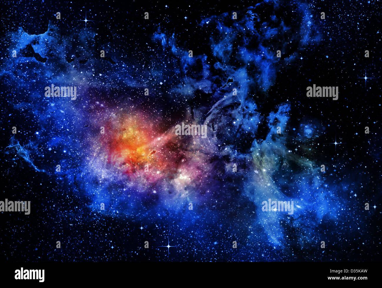 L'espace profond avec des étoiles d'arrière-plan et nebula Banque D'Images
