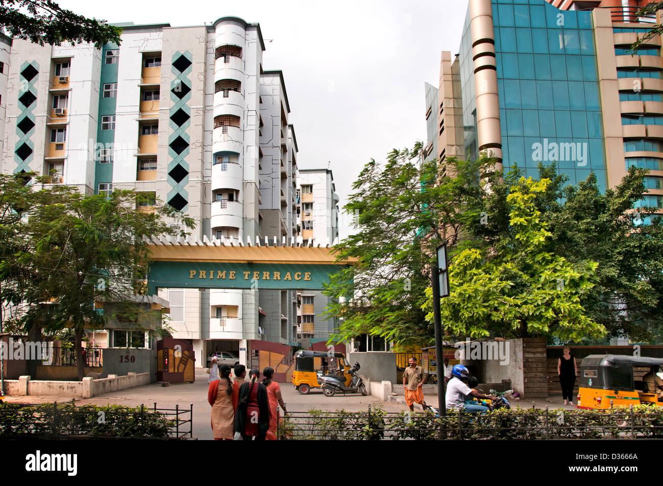 Premier Terrasse Thiruvanmiyur Chennai architecture appartements modernes ( Madras ) l'Inde Tamil Nadu Photo Stock