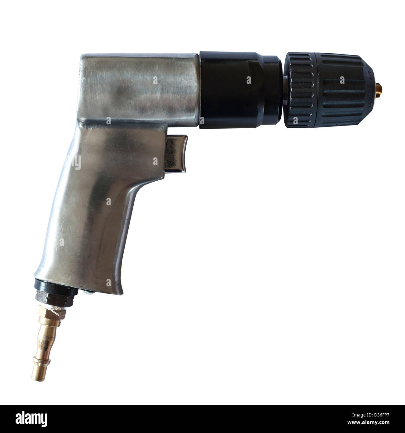 Un outil de perçage mandrin sans clé à utiliser avec un compresseur d'air sur un fond blanc Photo Stock