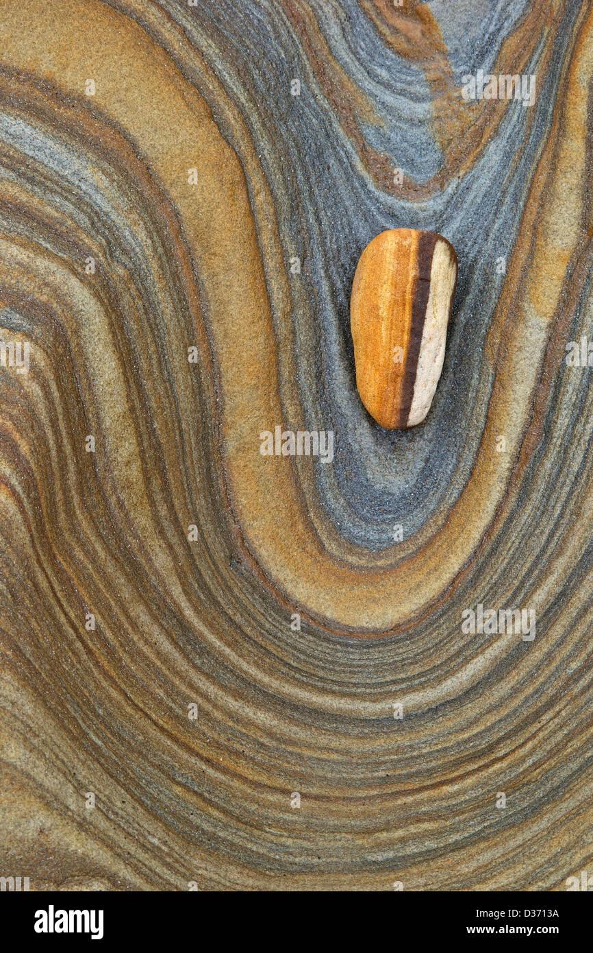 Les patrons de rochers de grès, Northumberland, Angleterre du Nord-Est, Royaume-Uni, GO Photo Stock