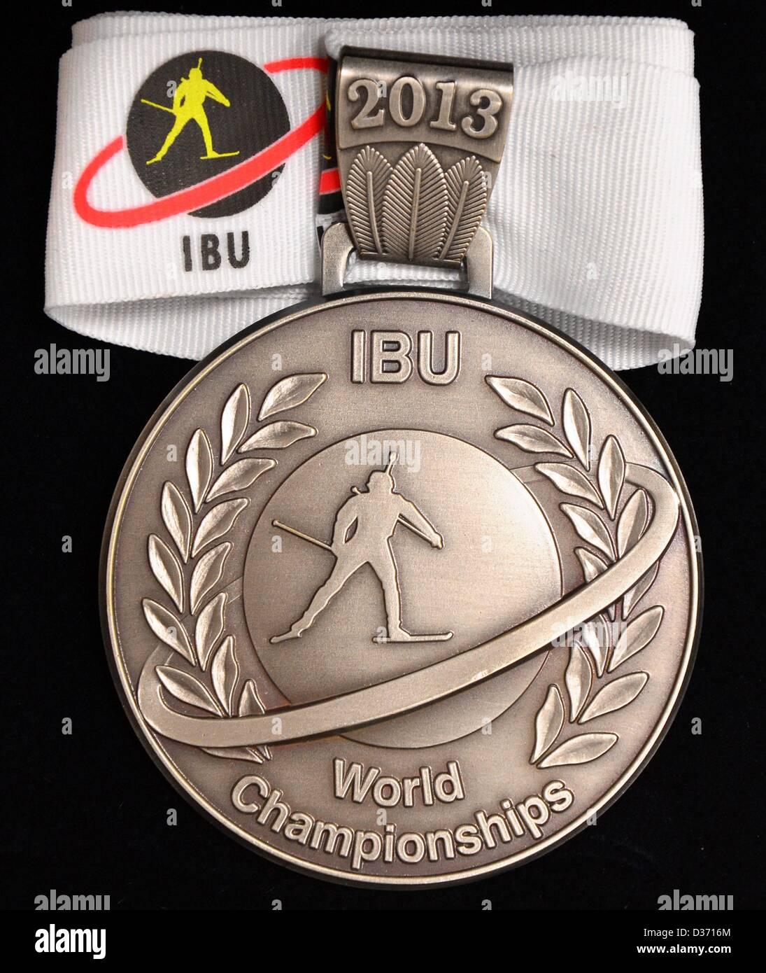 11.02.2013. Prix: à Nove Mesto, en République tchèque. La médaille d'argent pour le championnat du monde de Biathlon Banque D'Images