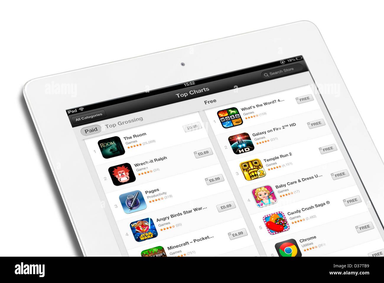 Tableau des applications les plus populaires sur l'App Store d'Apple sur un 4ème génération Photo Stock