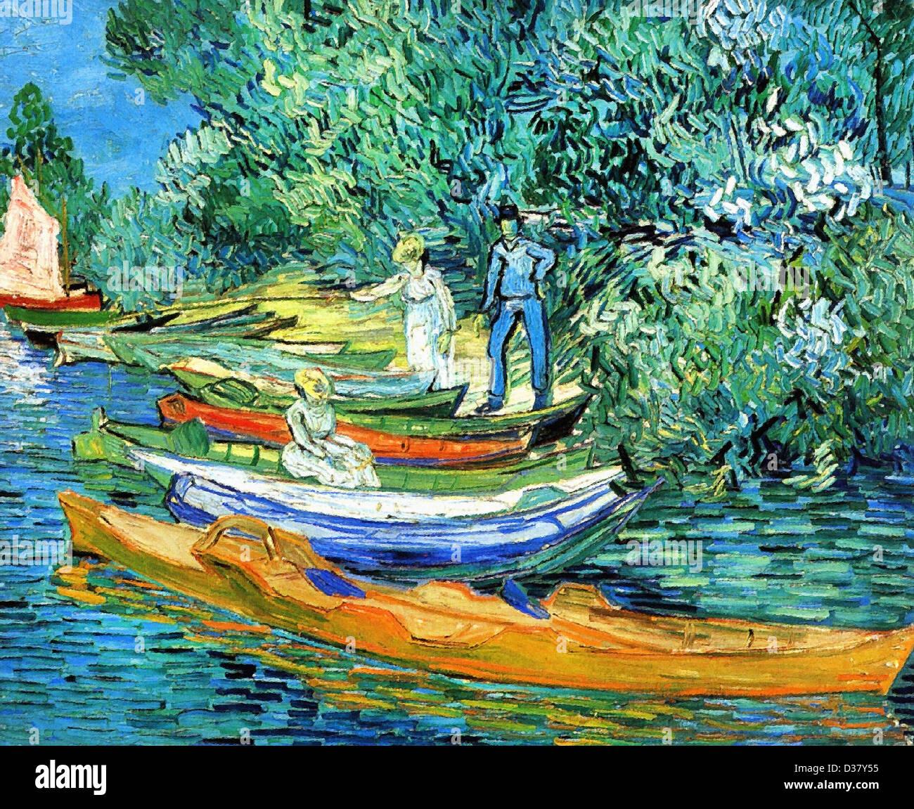 Vincent van Gogh, barques sur les rives de l'Oise. 1890. Le postimpressionnisme. Huile sur toile. Photo Stock