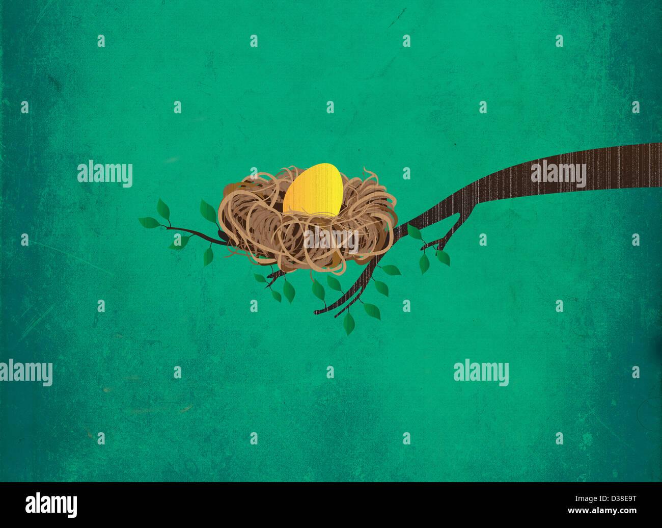 Image d'illustration de golden egg in nest sur branche représentant l'investissement Photo Stock