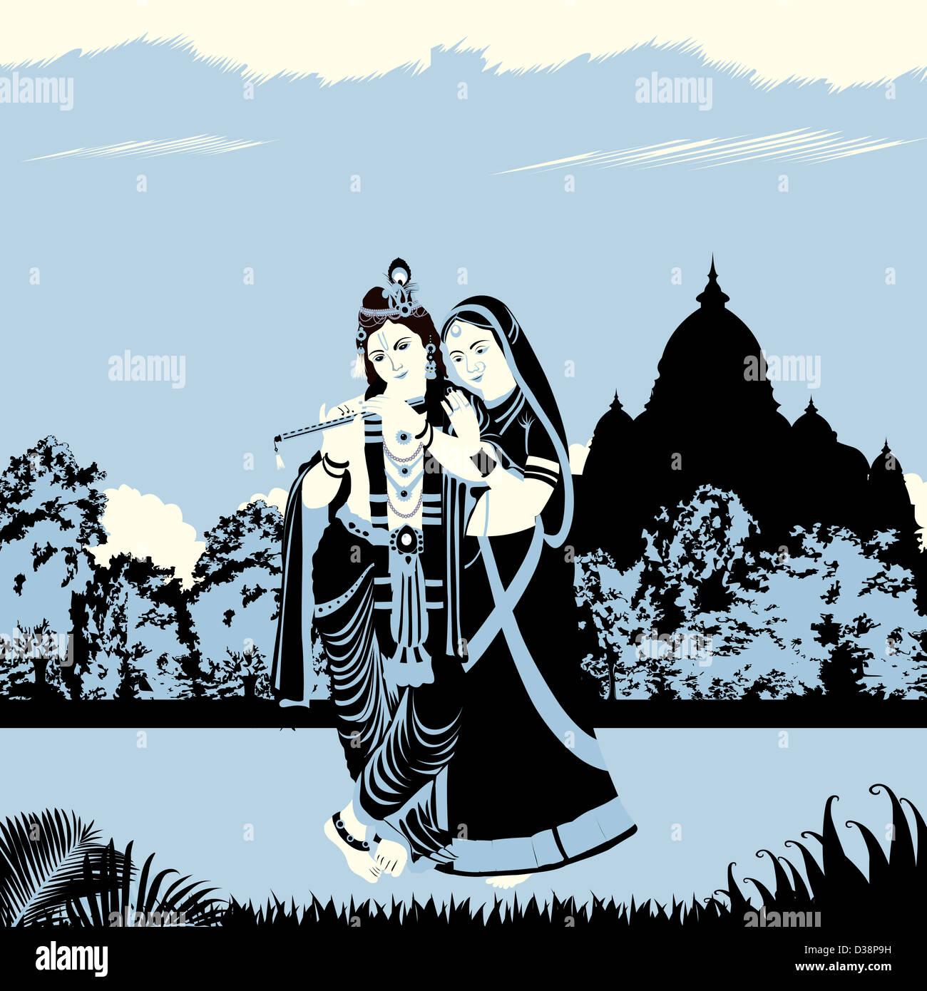 Le Seigneur Krishna avec Déesse Radha Photo Stock