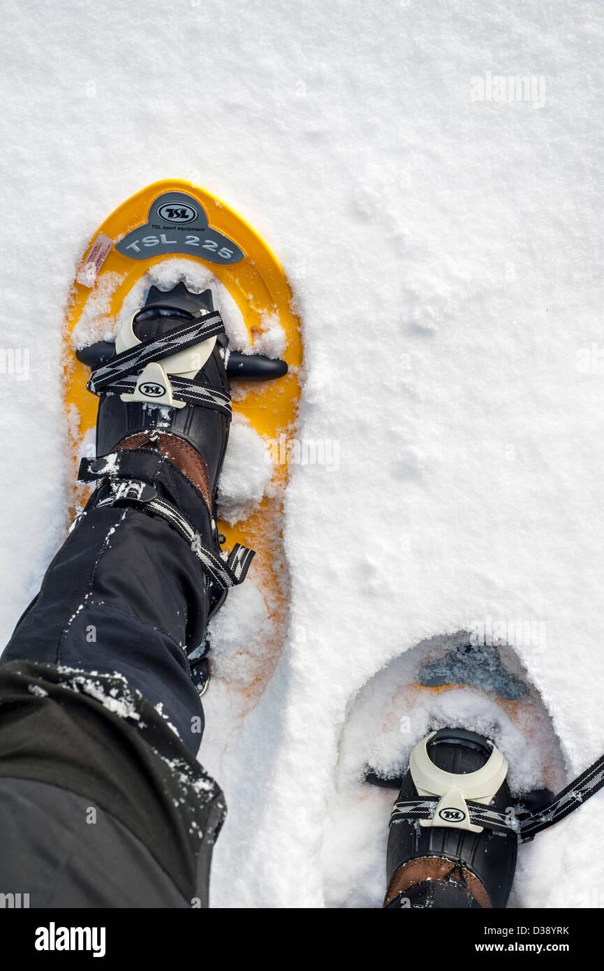 Close up of walker raquettes sur pieds alors que la raquette en poudreuse profonde en hiver Photo Stock