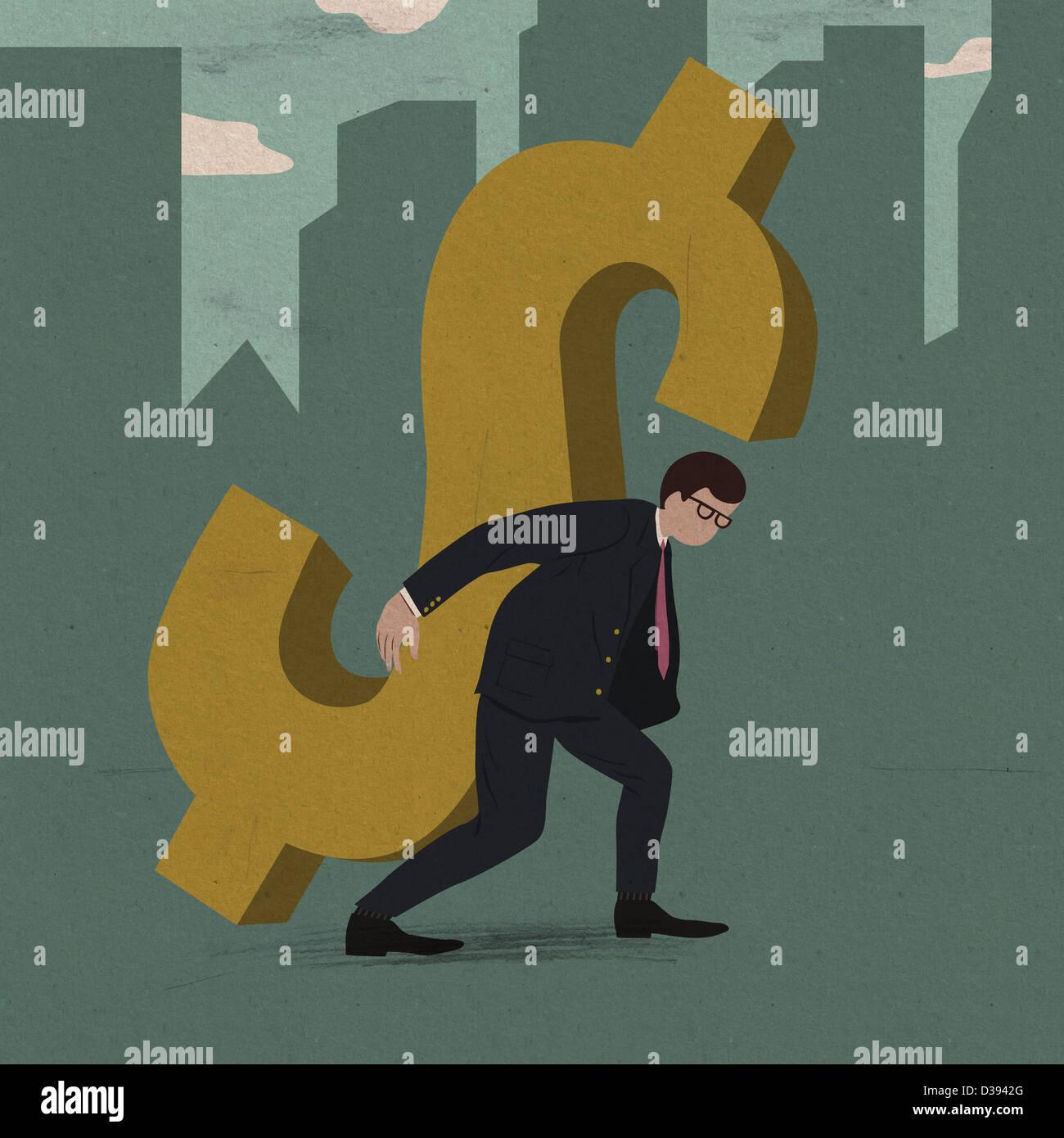 Businessman portant le fardeau de la dette de l'entreprise Photo Stock