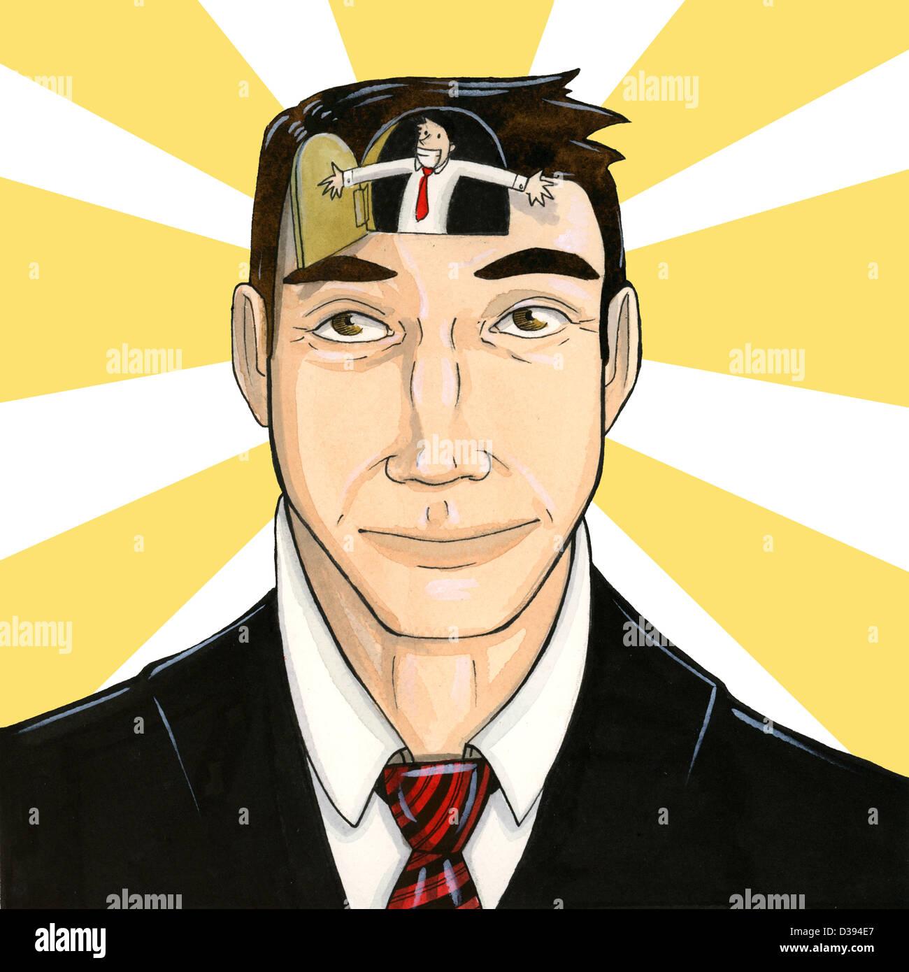 Homme d'optimiste avec esprit ouvert Photo Stock