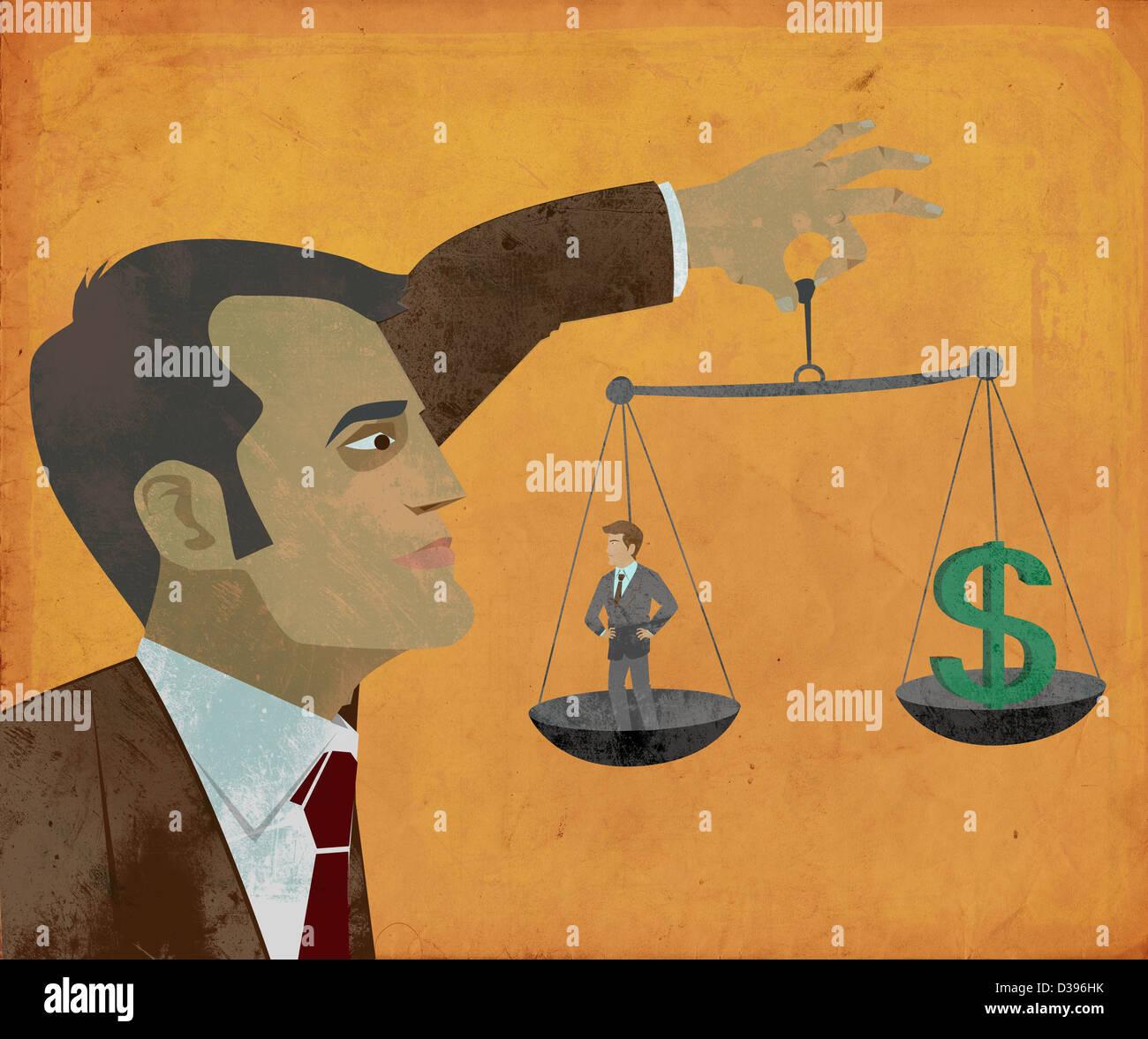 Image d'illustration de mesure manager performance individuelle conformément signe dollar représentant Photo Stock