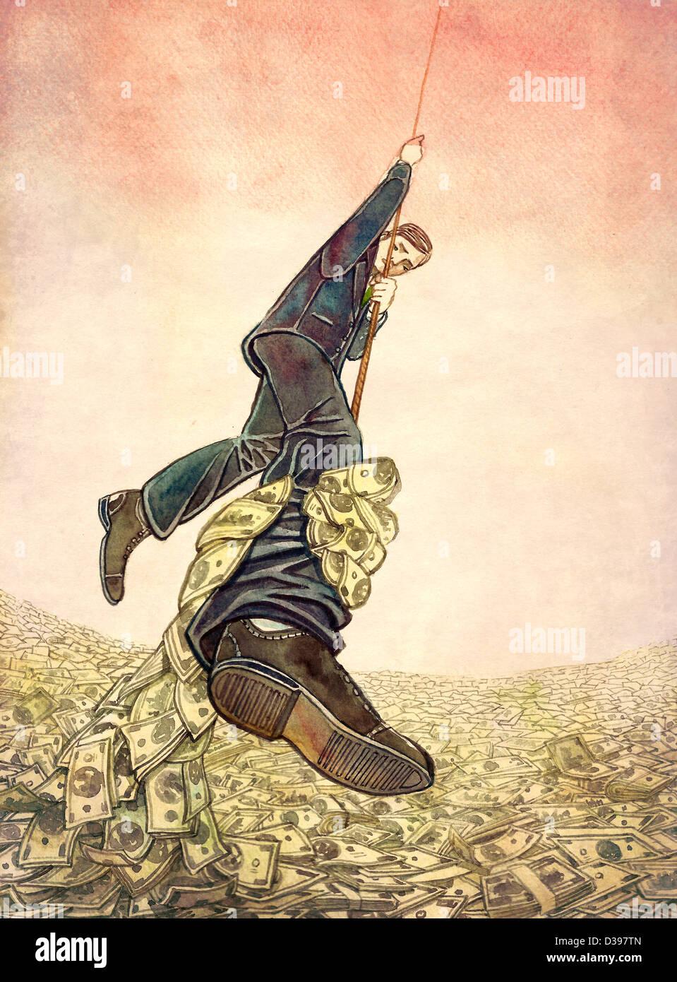 Businessman hanging sur corde tout en attrapant la main de l'argent à partir de la jambe de l'homme Photo Stock
