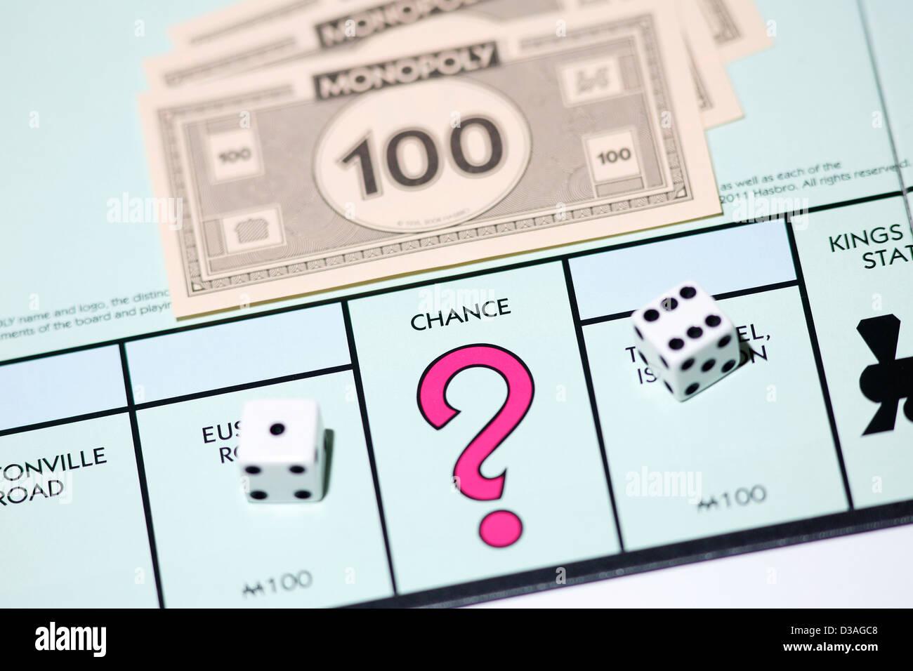 Chance sur jeu de Monopoly. Banque D'Images