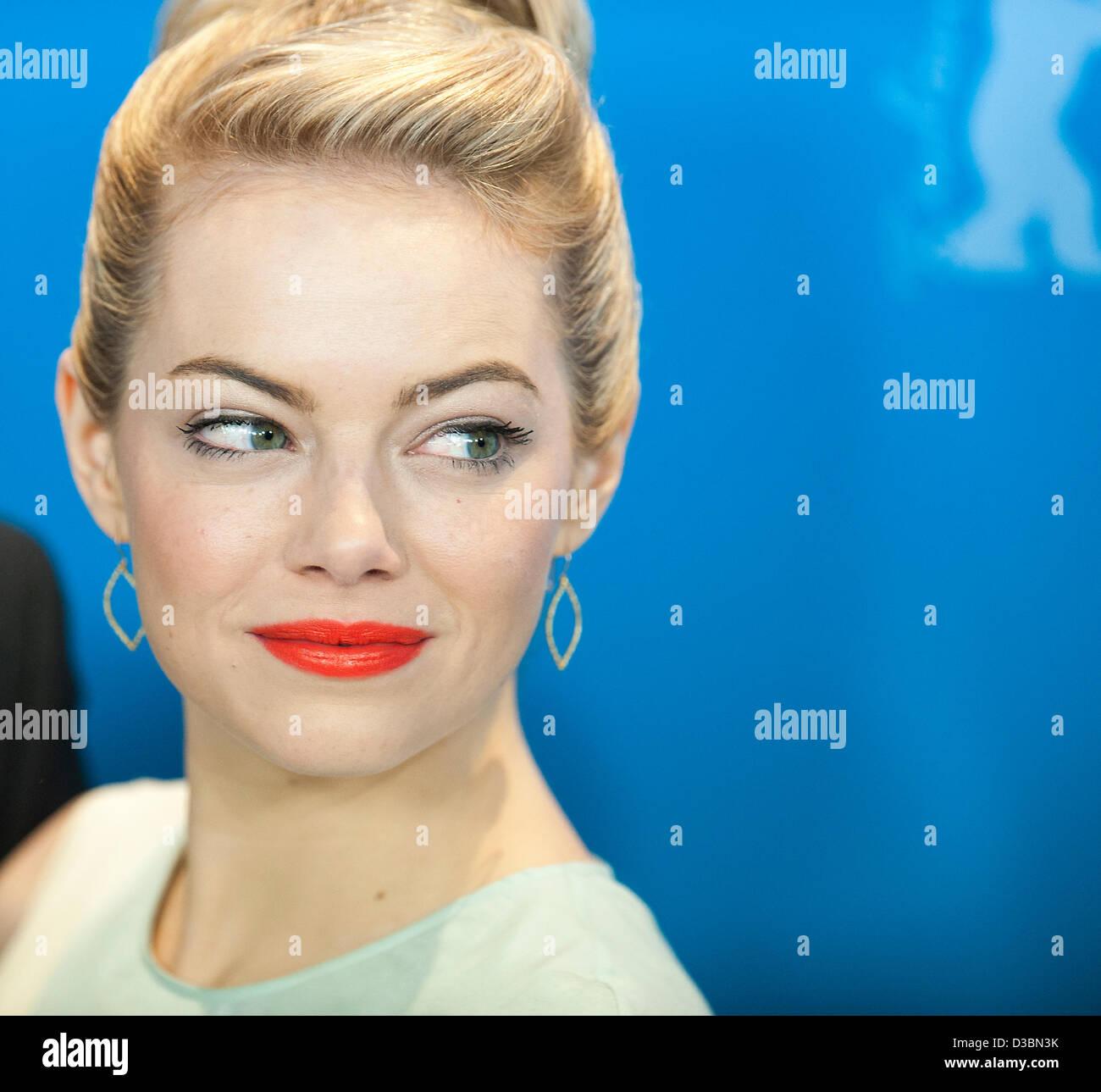 Berlin, Allemagne. 15 février 2013. Emma Stone occupe les CROODS à la 63e Berlinale. Credit: Gonçalo Photo Stock