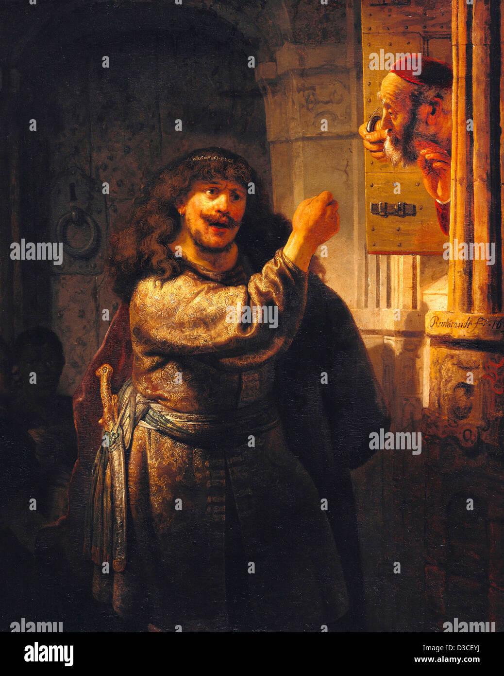Rembrandt van Rijn, Samson menacé son beau-père. 1635 Huile sur toile. Baroque. Gemaldegalerie, Berlin. Photo Stock