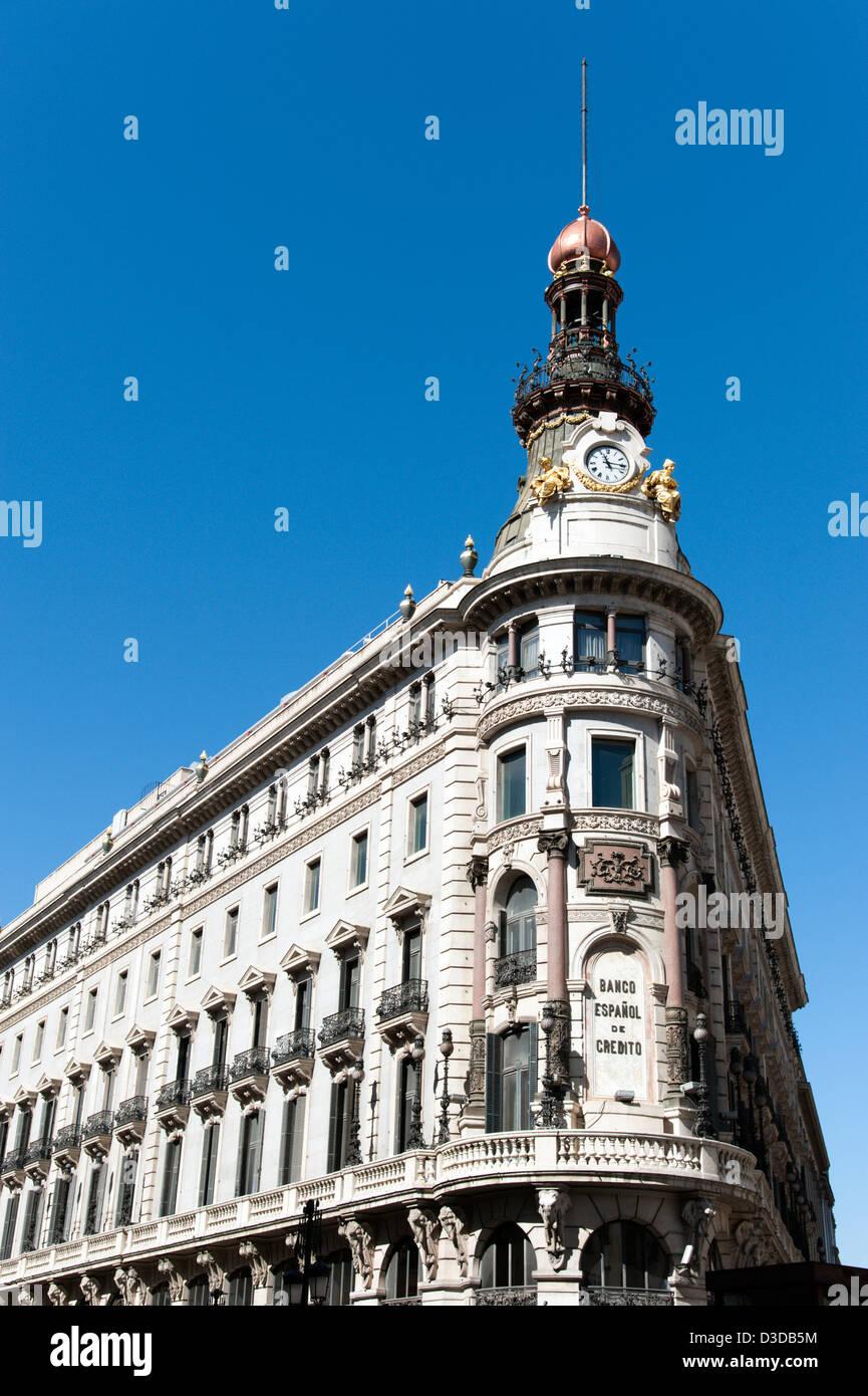 Le bâtiment Banesto, Madrid, Espagne Photo Stock