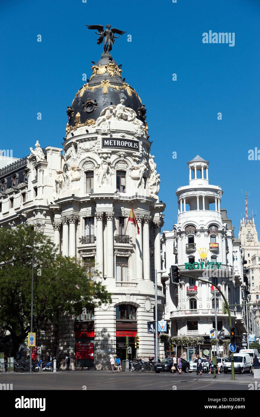 Bâtiment Metropolis sur le coin de la Calle de Alcalá et Gran Via, Madrid, Espagne Photo Stock