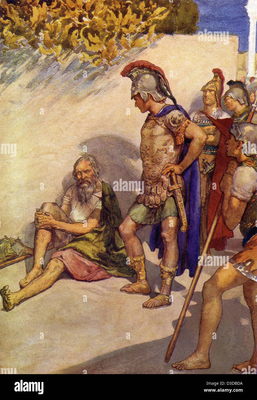 Quand Alexandre le Grand, Diogène a demandé ce qu'il pourrait faire pour lui, Diogène lui a dit Photo Stock
